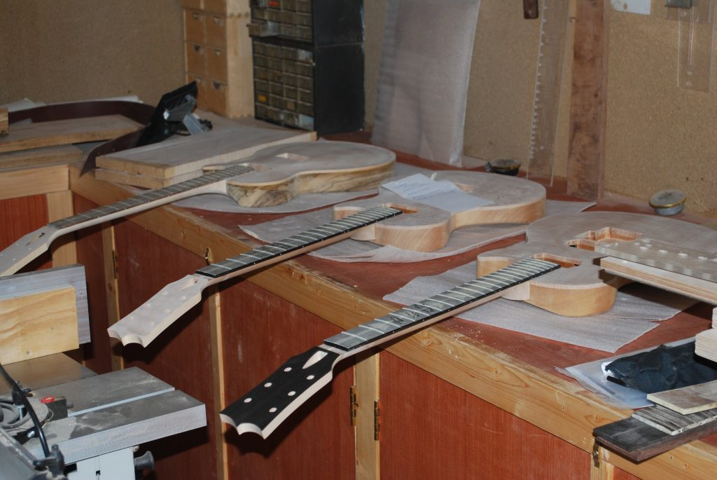 Rob Williams guitars under construction
